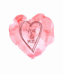 Watercolor pink hand drawn paper texture isolated heart on white background for text design, label, valentines day. Abstract aquarelle fade color wet brush paint romantic element for card, print, icon