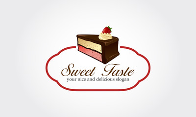 Sweet cakes. Piece of cake with flowing chocolate cream isolated Illustration. Strawberry on top of pastry. Cartoon style logo. Flat design. Vector logo illustration