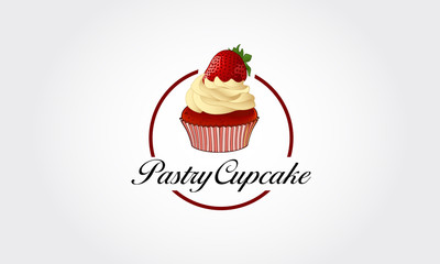 Pastry Cupcake Vector Logo Illustration. Cupcake Bakery Stylish Logo Template. This sign is cute sign that consists of cupcake icon, decorative design elements.