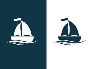Design of sailboat and yacht icons. Cruise, tour, delivery concept, Marine boat. Transportation sign. Vector image.