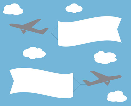 Flying advertising banner. Planes with horizontal banners on blue sky background.  Vector image.