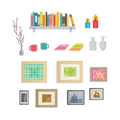 Interior Design Stylish Decorative Elements Set