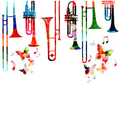 Music colorful background with saxophones. Jazz music festival poster. Saxophone isolated vector illustration. Music instrument vector