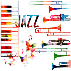 Jazz music colorful background. Jazz music festival poster. Word jazz with saxophone and piano keyboard isolated vector illustration. Music instruments vector