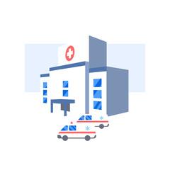 Hospital building and ambulance cars icon. Medical health emergency flat illustration