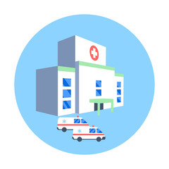 Hospital building and ambulance cars icon. Medical health emergency flat illustration