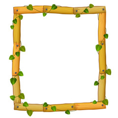 wooden frame with roots and leaf