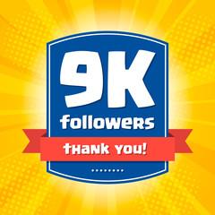 9000 followers Thank you design card