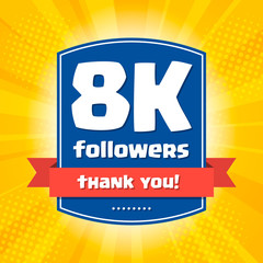 8000 followers Thank you design card