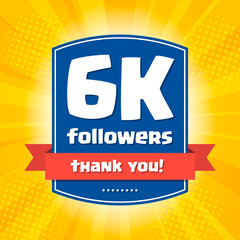 6000 followers Thank you design card