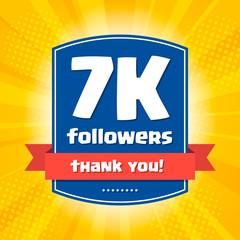 7000 followers Thank you design card