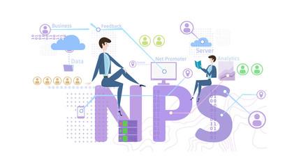 NPS concept, vector illustration, isolated on white background. Net Promoter Score.