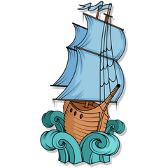 Retro Cargo Ship. Sailing ship. Sailing boat logo. Sea company vector logo design template.
