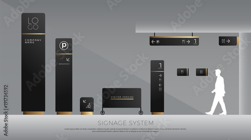 Exterior And Interior Signage Concept Direction Pole Wall Mount And Traffic Signage System
