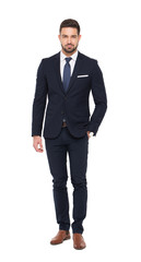 Young caucasian businessman in formal wear isolated