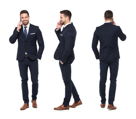 Young caucasian businessman calling front side back view isolated