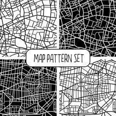 Set of four abstract seamless patterns of a fictional city map