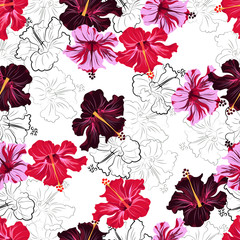 hibiscuses. seamless pattern
