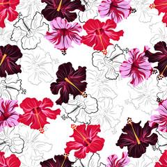hibiscuses. seamless pattern