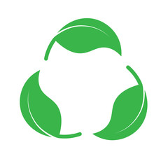 Recycle icon made of green leaves