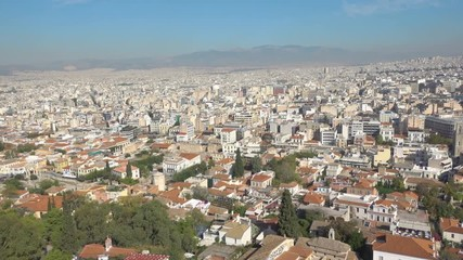 Wall Mural - Panoramic view of Athens with Mount Lycabettus, Greece. Zoom out