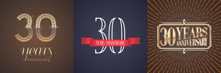 30 years anniversary vector icon, logo set