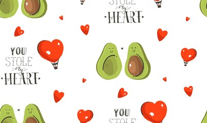 Hand drawn vector abstract modern cartoon Happy Valentines day concept illustrations seamless pattern with avocado couple,hearts shape and handwritten calligraphy text isolated on white background