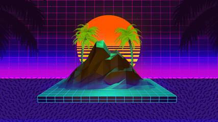 80s Retro Synthwave Background 3D Illustration
