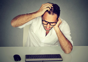 Confused man having problems with password