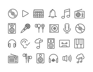 Sound Audio Music Related Vector Line Icons.Editable Stroke.48x48 Pixel Perfect.