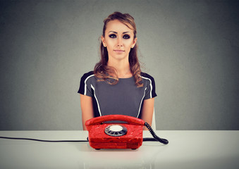 Diligent woman working in call center