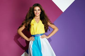 Fashion Clothes. Beautiful Girl In Fashionable Summer Dress Wall mural