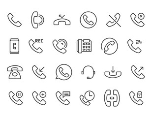 Simple Set of Phone Related Vector Line Icons. Editable Stroke. 48x48 Pixel Perfect.