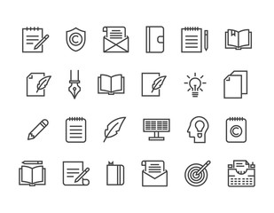 Set of Copywriting Related Vector Line Icons. Editable Stroke. 48x48 Pixel Perfect.