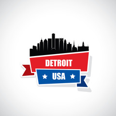 Detroit skyline ribbon banner - Michigan