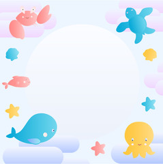Cute greeting card with sea life.