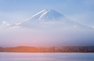 Fuji mountain volcano blue sky background, Japan natural landscape