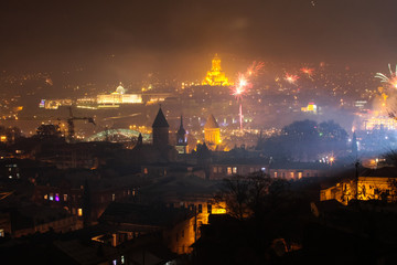 view to tbilisi and fireworks