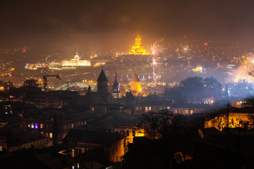 tbilisi with fireworks