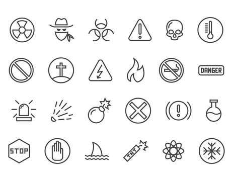 Set of Warnings Related Vector Line Icons. Contains such Icons as Toxic, Explosive, Flammable and more. Editable Stroke. 48x48 Pixel Perfect.