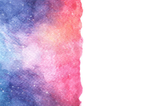 Watercolor colorful starry space galaxy nebula background. cosmic layout with space for text.