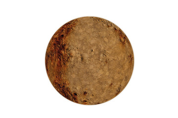 Weathered stone rock in a round planet sphere shape cut out and isolated on a white background
