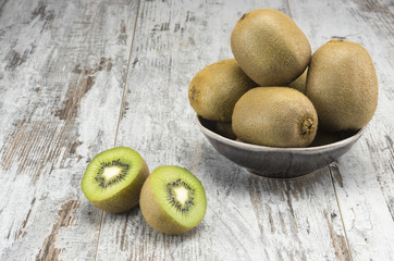 Juicy ripe kiwi fruit on the bowl