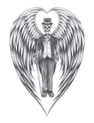 Art Fantasy Gentleman Angel Skull. Hand pencil drawing on paper.