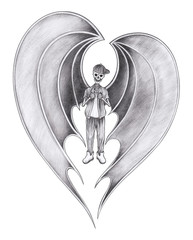 Art  B Boy Skull mix heart wings.Hand pencil drawing on paper.