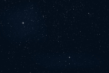 Vector night starry sky with stars and planets
