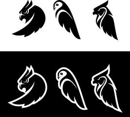 Owl flat logo set