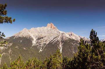 Croda Rossa Peak summer panorama, Cortina d'Ampezzo, Dolomites, Italy