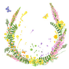 Raster cute sketchy watercolor illustration with a bunch of wild flowers augmented with butterflies. Natural and rustic themes, design elements, printed goods.