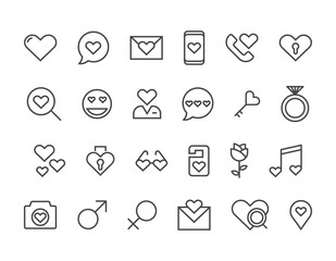 Set of Love Icons for valentines day Heart . Editable Stroke. 48x48 Pixel Perfect.